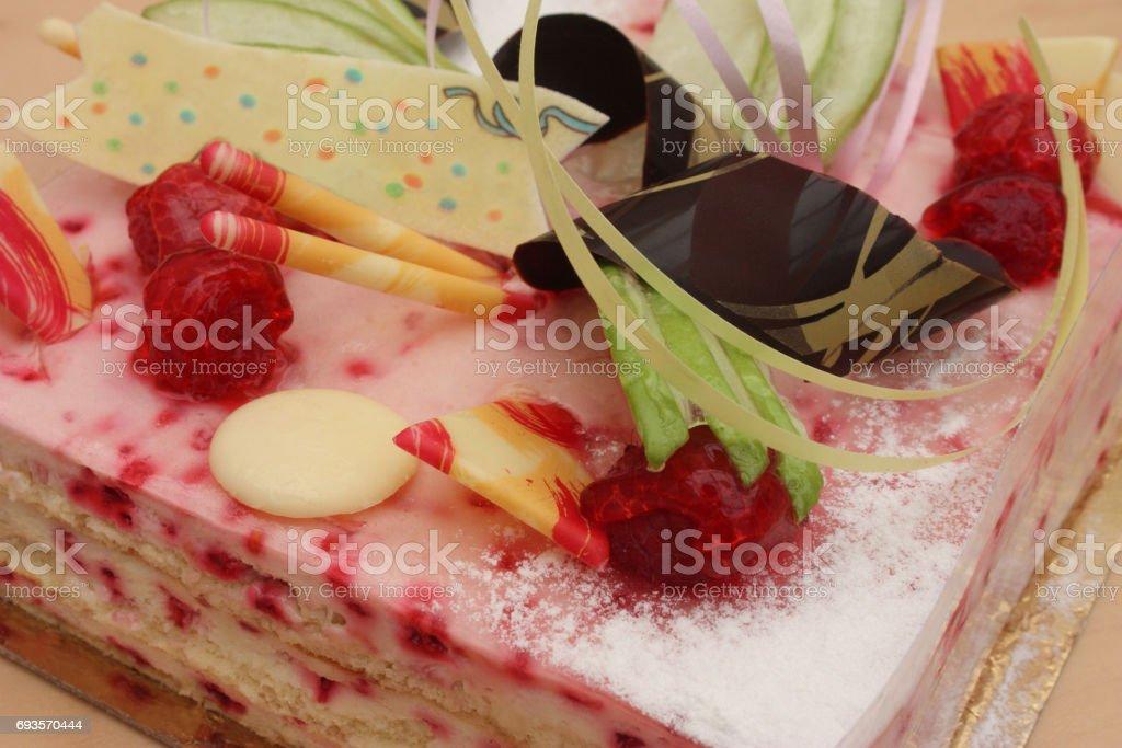Superb Raspberry Birthday Cake Stock Photo Download Image Now Istock Funny Birthday Cards Online Drosicarndamsfinfo