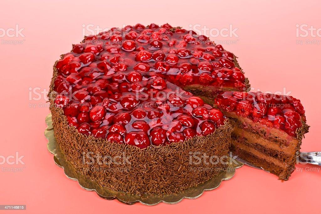 Raspberry  Chocolate Cake royalty-free stock photo