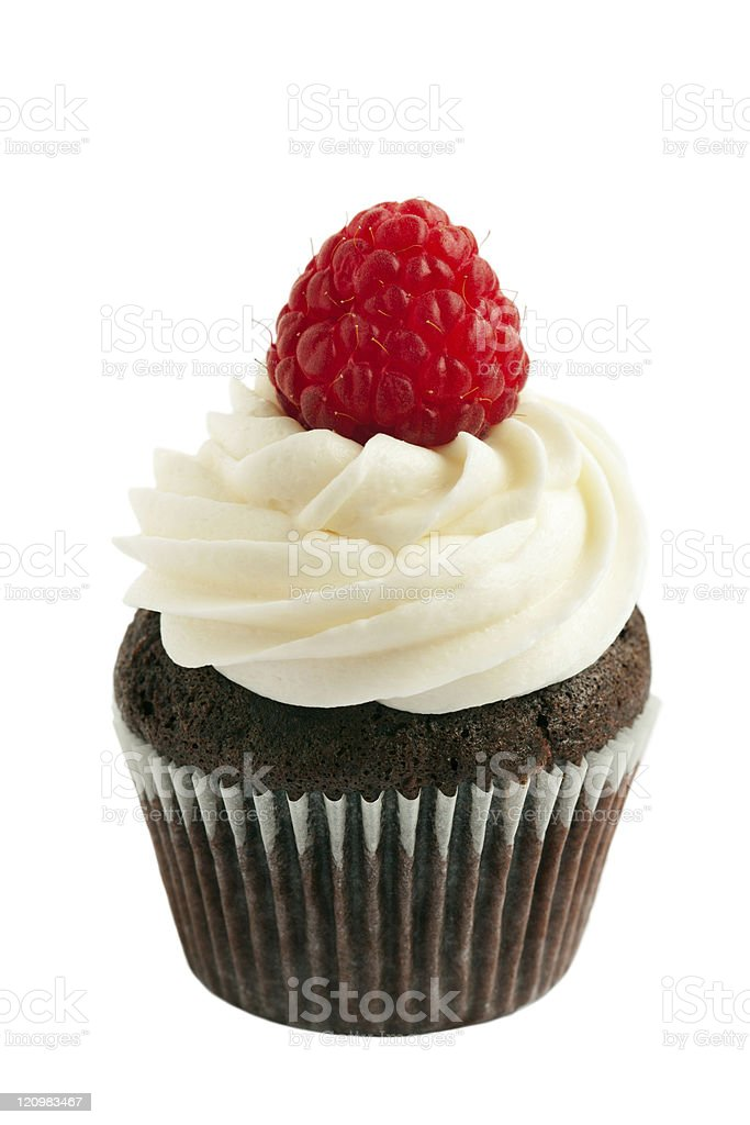 Raspberry chocolate cupcake stock photo
