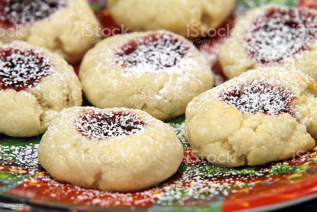 Raspberry cream thumbprint cookies stock photo
