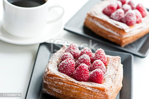 close up of fresh raspberry danish breads and coffee