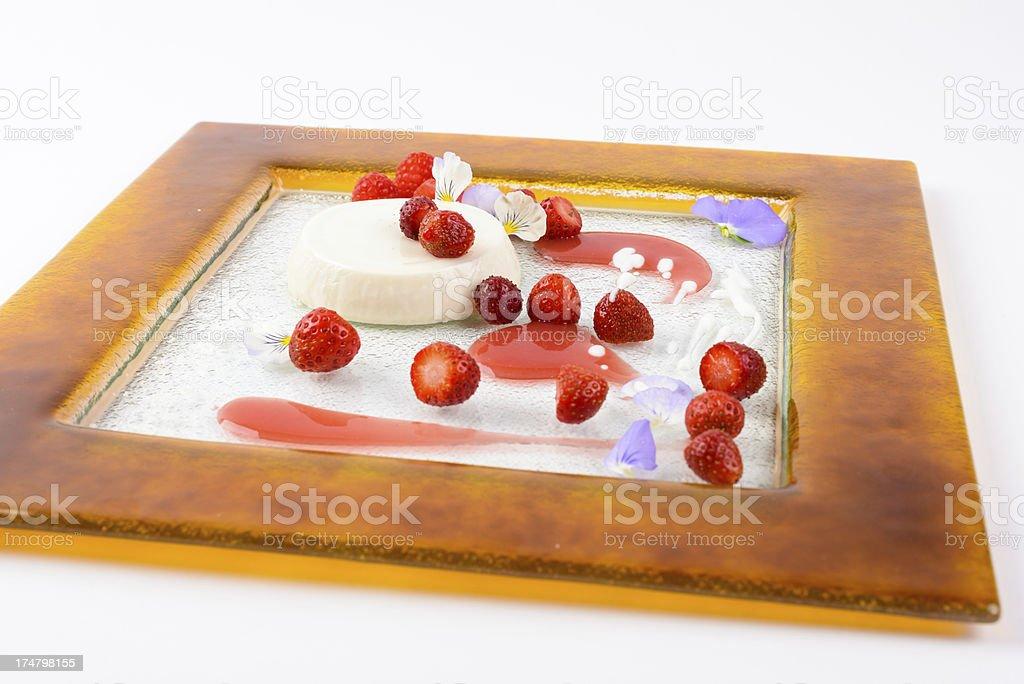 Raspberry Flan Custard Dessert royalty-free stock photo