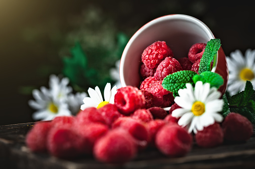 499658564 istock photo Raspberry in a red cup with chamomile and leaves on a dark background. Summer and healthy food concept. Background with copy space. Selective focus. 1156900153