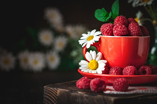 499658564 istock photo Raspberry in a red cup with chamomile and leaves on a dark background. Summer and healthy food concept. Background with copy space. Selective focus. 1166652909