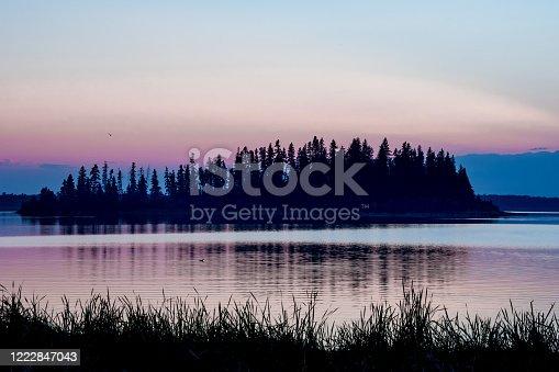Raspberry Island, Astotin Lake, at sunset in Elk Island National Park, Canada