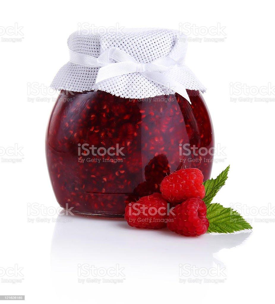 Raspberry jam isolated on white royalty-free stock photo