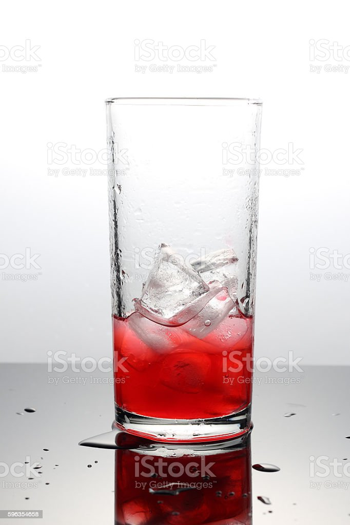 Raspberry lemonade with lce cubes in a glass royalty-free stock photo