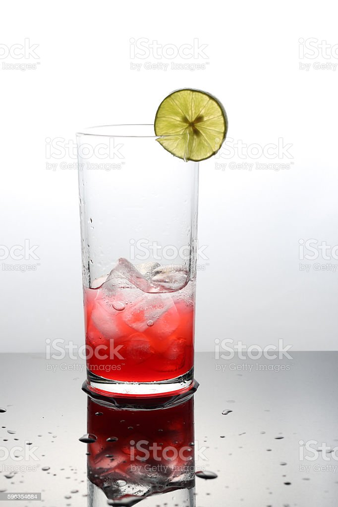 Raspberry lemonade with lime in a glass royalty-free stock photo