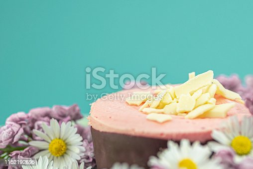 istock Raspberry mousse decorated with flowers 1152192695