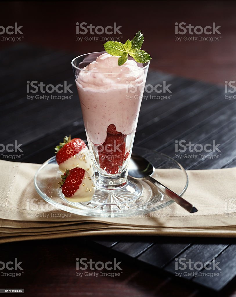 Raspberry Parfait with mint royalty-free stock photo
