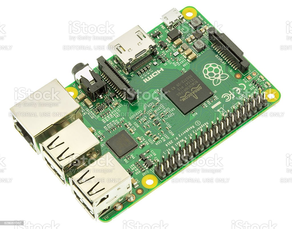 Raspberry Pi 2 Model B Board isolated on white stock photo