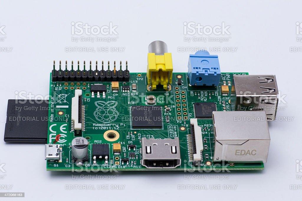 Raspberry Pi with SD card stock photo