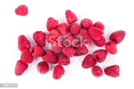 fresh rasberries on white background