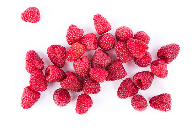 raspberry - frozen berries stock photos and pictures