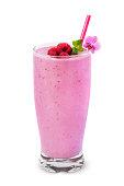 Raspberry smoothie on white background.