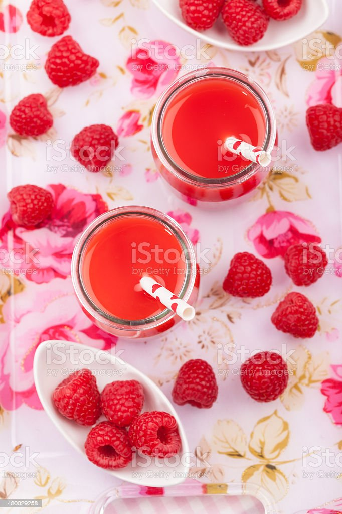 Raspberry smoothie stock photo