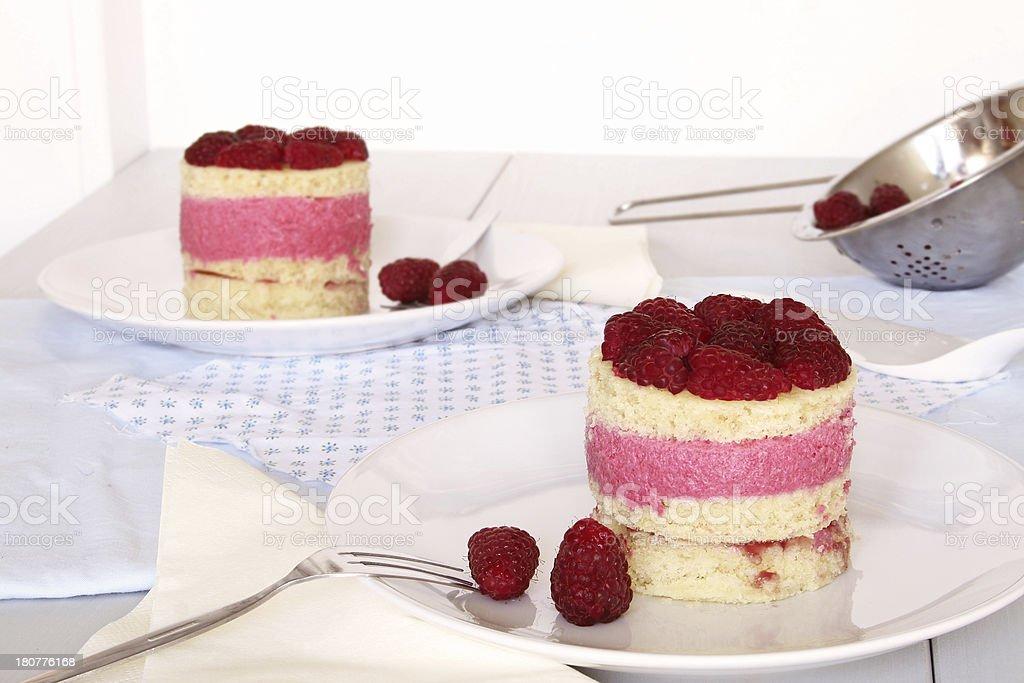 Raspberry Sponge Cake Tartlets royalty-free stock photo