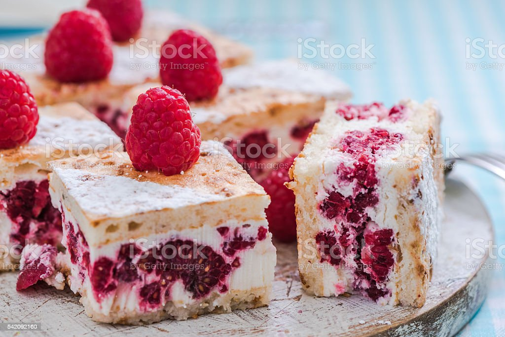 raspberry summer cake with fresh fruits stock photo