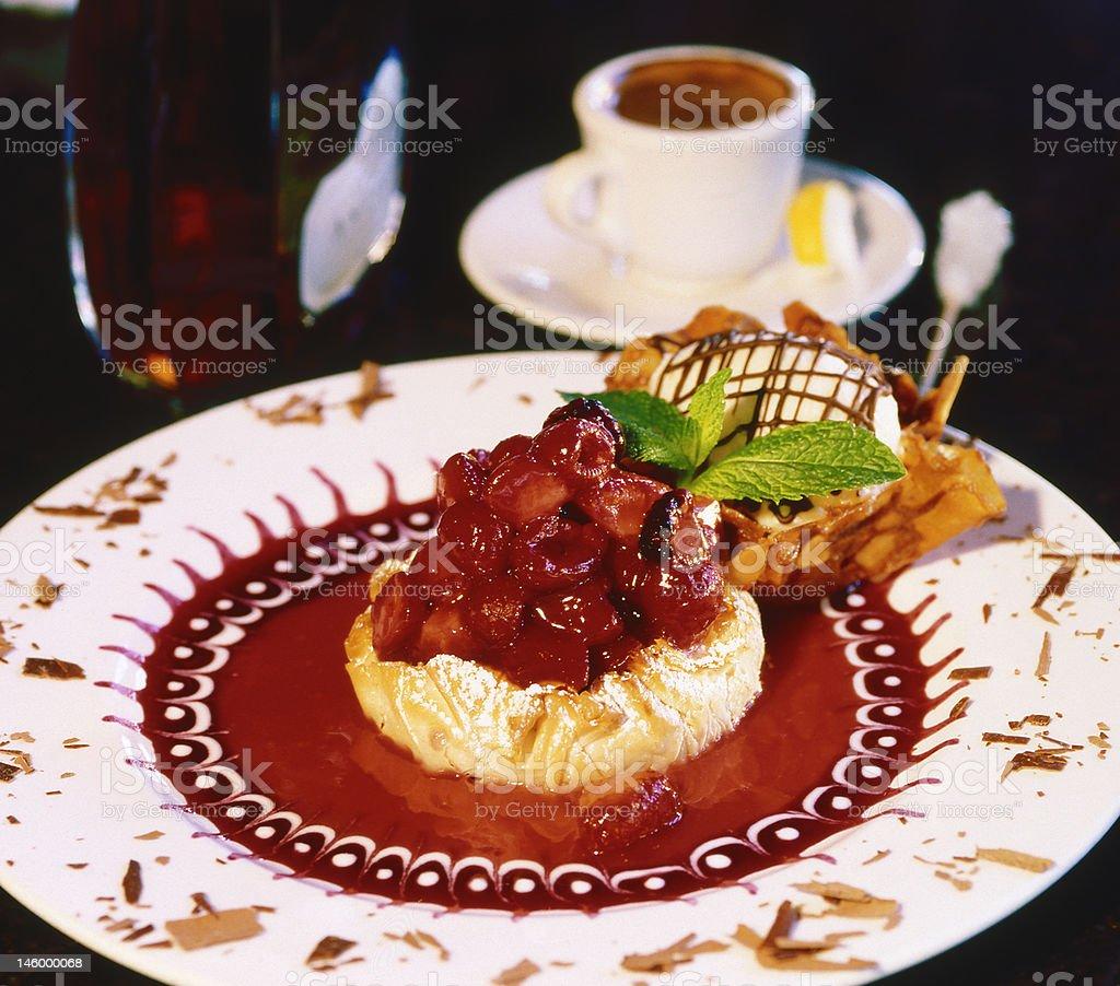 Raspberry Tart dessert with ice cream and espresso coffee royalty-free stock photo