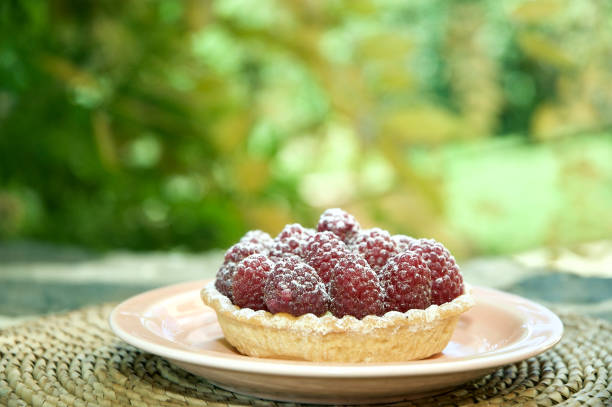 Raspberry Tartlet on a Plate Outdoor stock photo