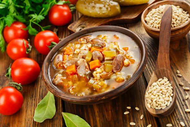 Rassolnik with chicken giblets stock photo
