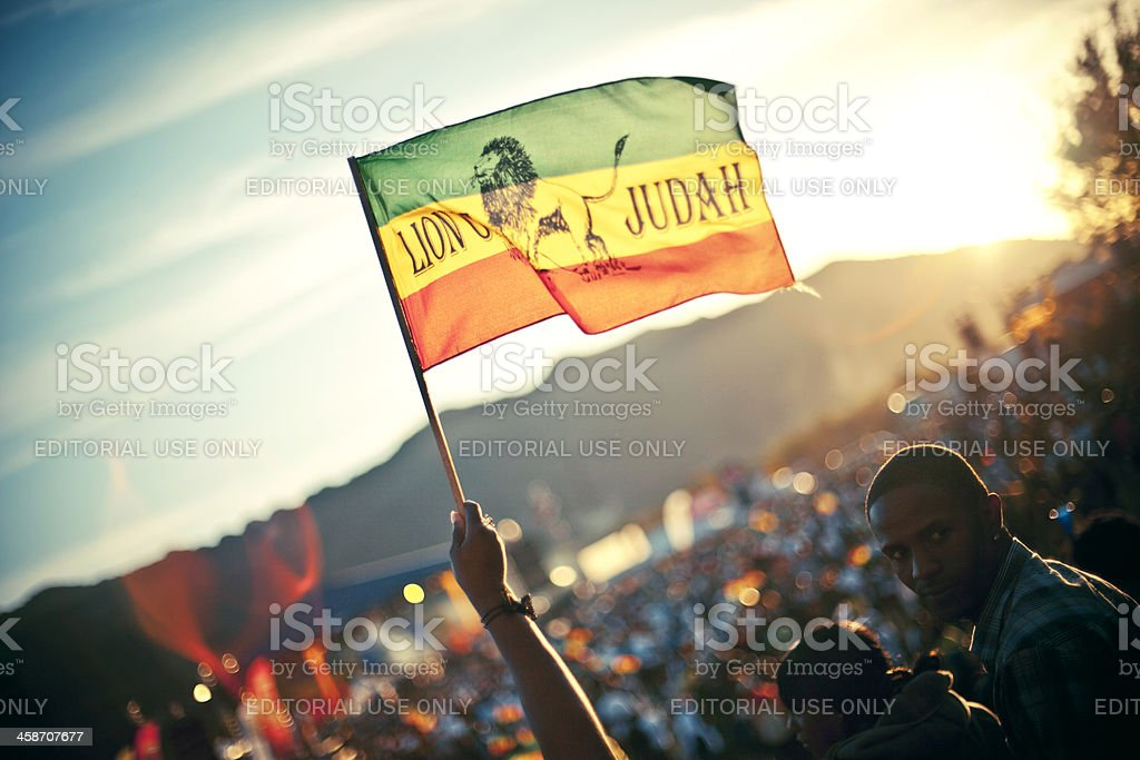 Rasta flag against sunlight. stock photo