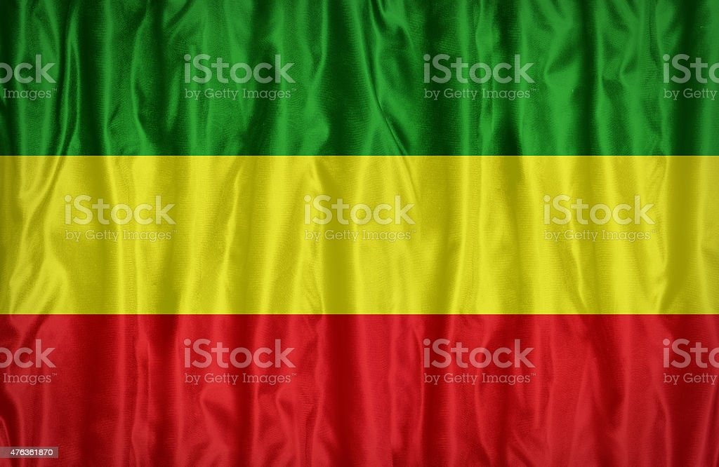 Rasta flag on fabric texture,retro vintage style stock photo