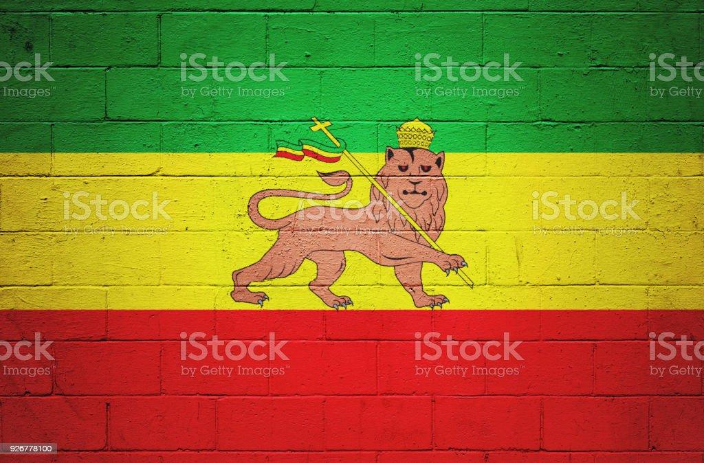 Rastafarian flag painted on a wall stock photo