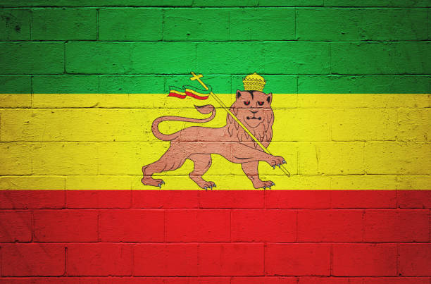 Rastafarian flag painted on a wall stock photo