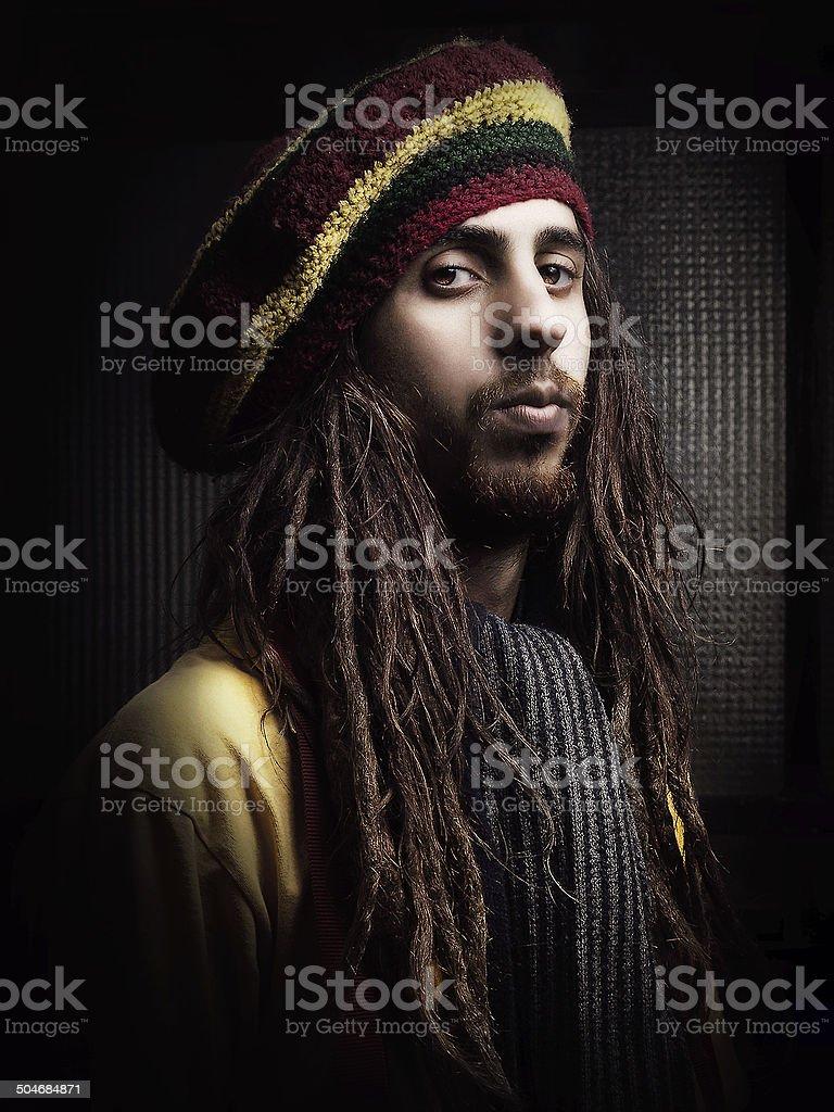 Rastafarian guy portrait stock photo