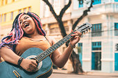 Woman, Musical instrument, Happy, Street, Rock Pop