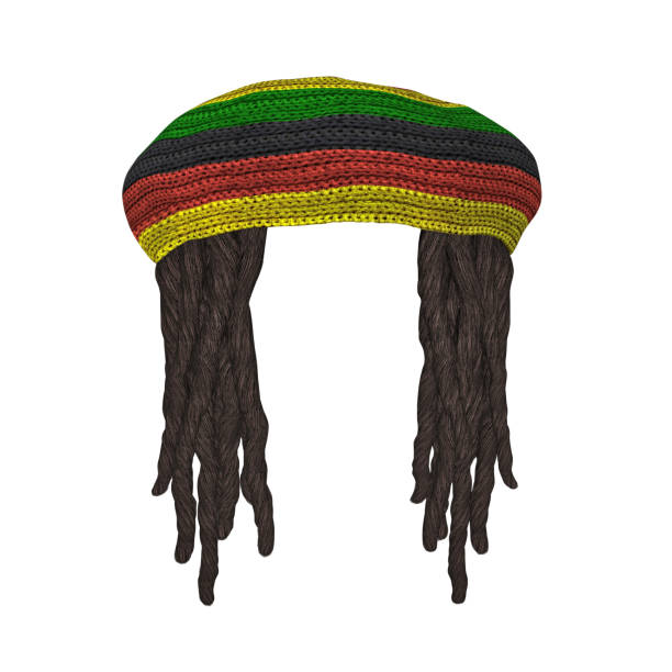 Rastafarians hat with dreadlocks Rastafarians hat with dreadlocks isolated on white. 3D rendering rastafarian stock pictures, royalty-free photos & images