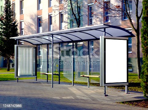 841502736 istock photo raster composite collage of bus shelter at a bus stop. background for mock-up 1248742985