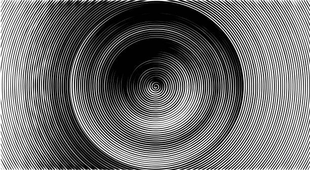 Raster Halftone pattern effect. Line. Spiral. Circles stock photo