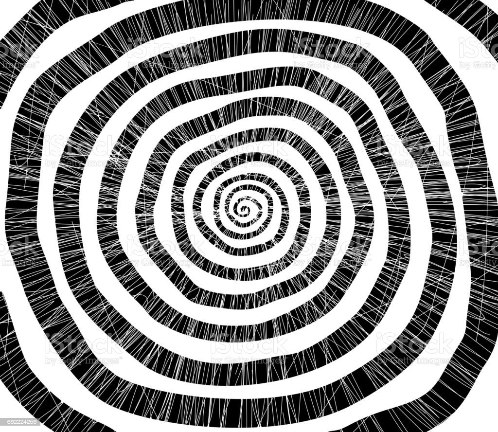 Raster Spiral. Concentric circles. Silhouette. Effect hypnosis. Grunge stock photo