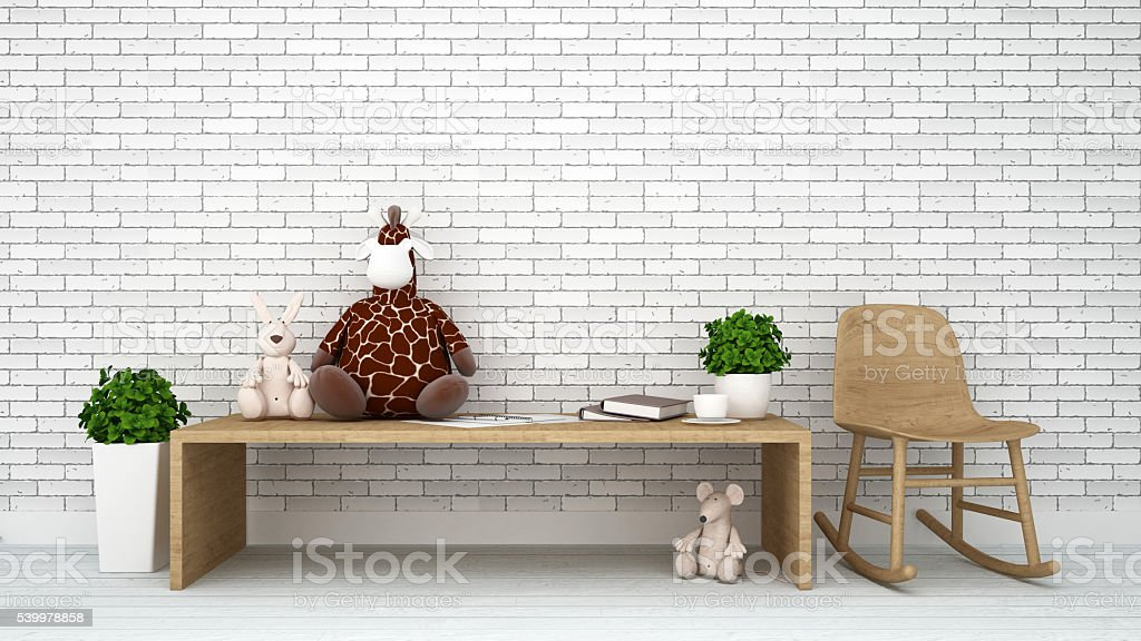 rat rabbit and giraffe doll kid room-3d rendering stock photo