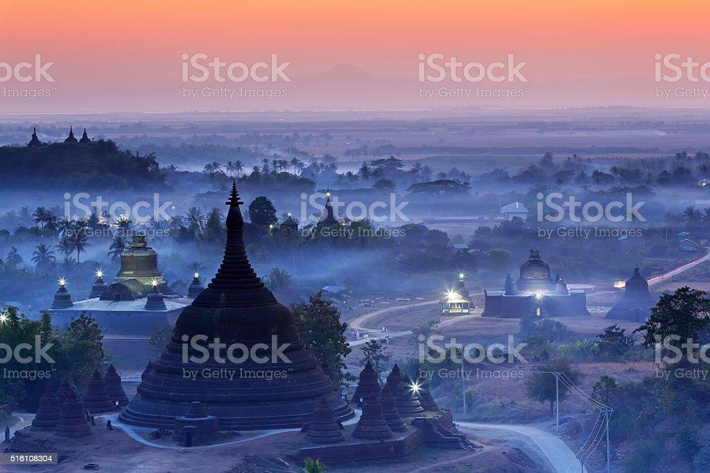 Ratanabon Paya in dawn Mrauk-U, Myanmar stock photo