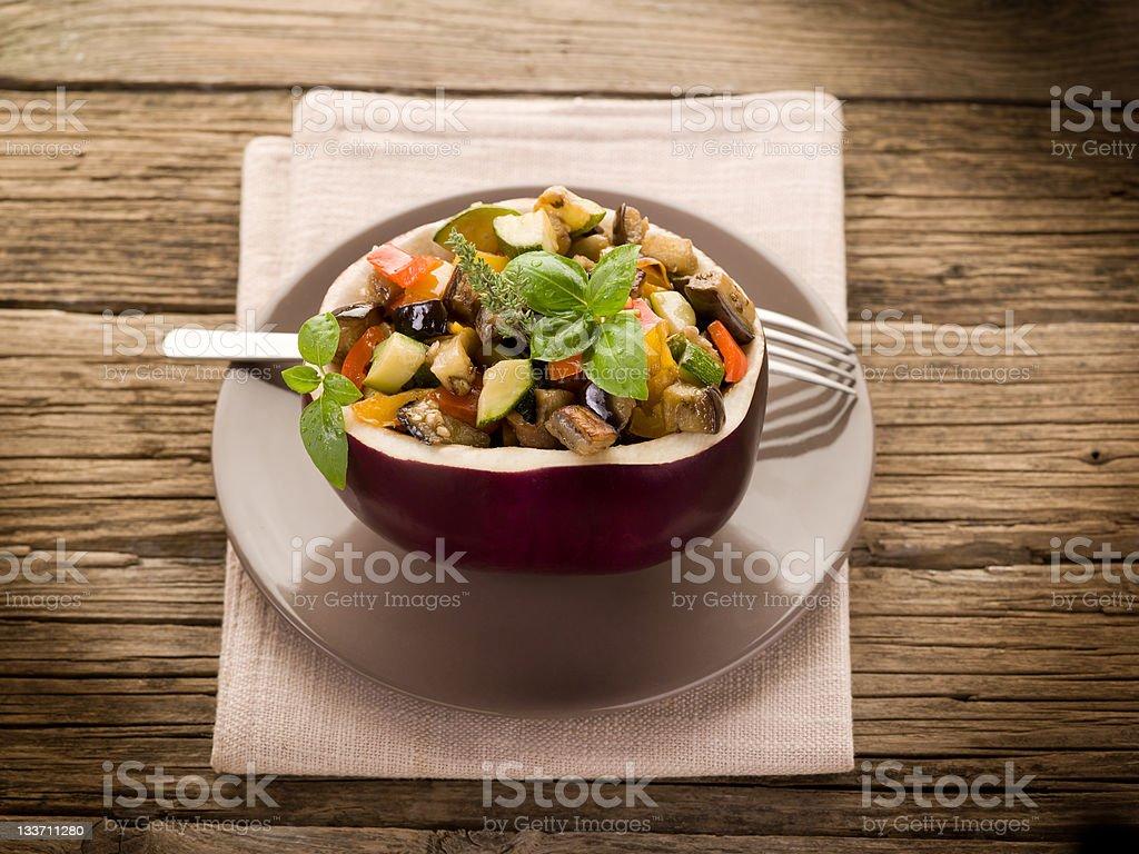 ratatouille over open eggplant royalty-free stock photo