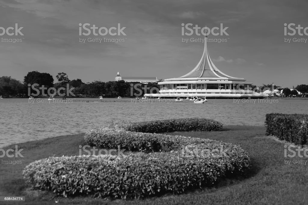 Ratchamongkol hall in Suanluang RAMA IX public park stock photo