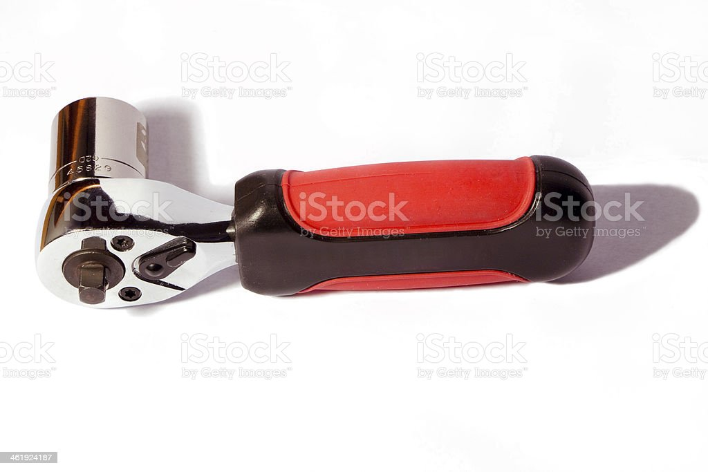Ratchet spanner with socket. stock photo