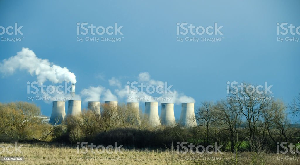 Ratcliffe-on-Soar Power Station from M1 motorway, England stock photo