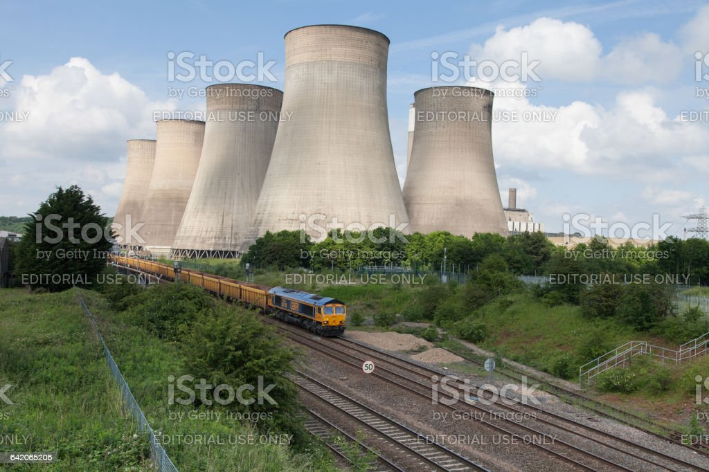 Ratcliffe-on-Soar power station. GBRF GB Railfreight Train stock photo