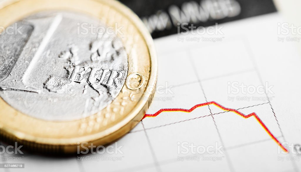 Rate of euro (shallow DOF) stock photo