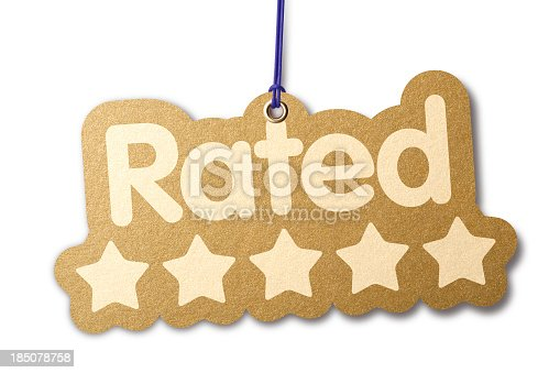 The word 'RATED' with five stars. Shaped similar to a die-cut label with silver eyelet hanging from beige cord. Isolated on a pure white background, absolutely no dot in the white area no need to cut-out e.g. can be dropped directly on to a white web page seemlessly.