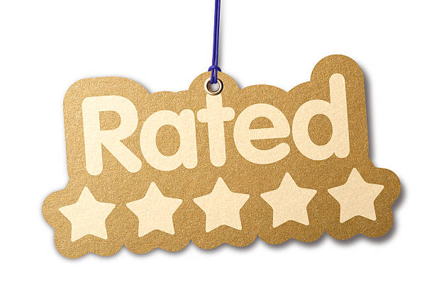 Rated 'FIVE STARS' shaped label The word 'RATED' with five stars. Shaped similar to a die-cut label with silver eyelet hanging from beige cord. Isolated on a pure white background, absolutely no dot in the white area no need to cut-out e.g. can be dropped directly on to a white web page seemlessly. first class stock pictures, royalty-free photos & images
