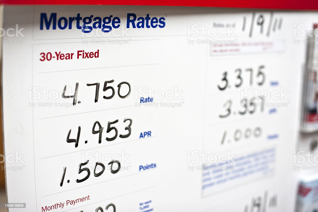 Rates for mortgages for a company stock photo