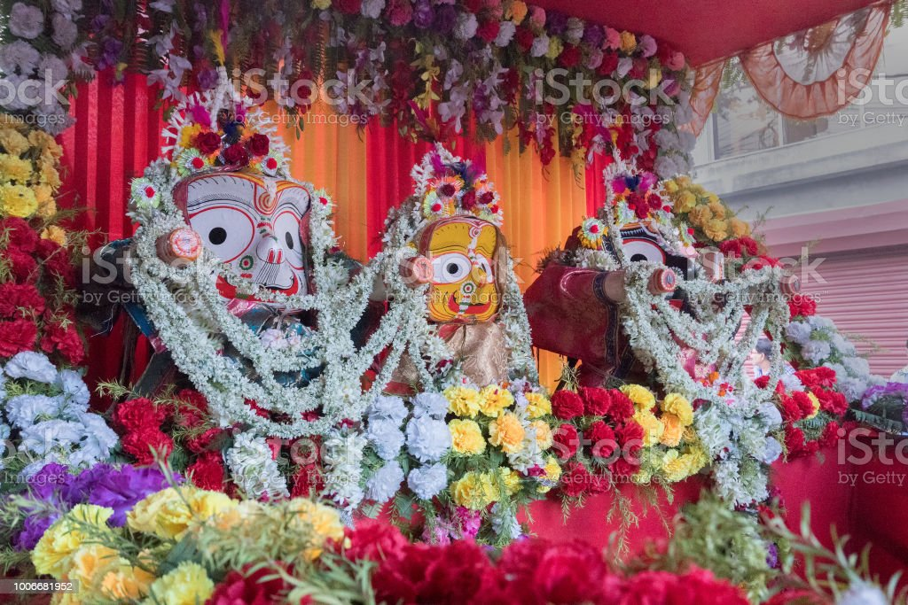 Rath Jatra Festival Lord Jagannath Being Worshipped Stock