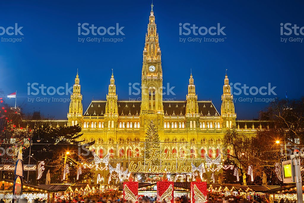 Rathaus and Christmas market in Vienna royalty-free stock photo