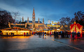 Rathaus and christmas market in Vienna, Austria