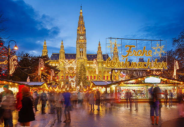 rathaus and christmas market in vienna - vienna stock photos and pictures